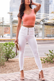 Peach Ribbed Crop Tank Top