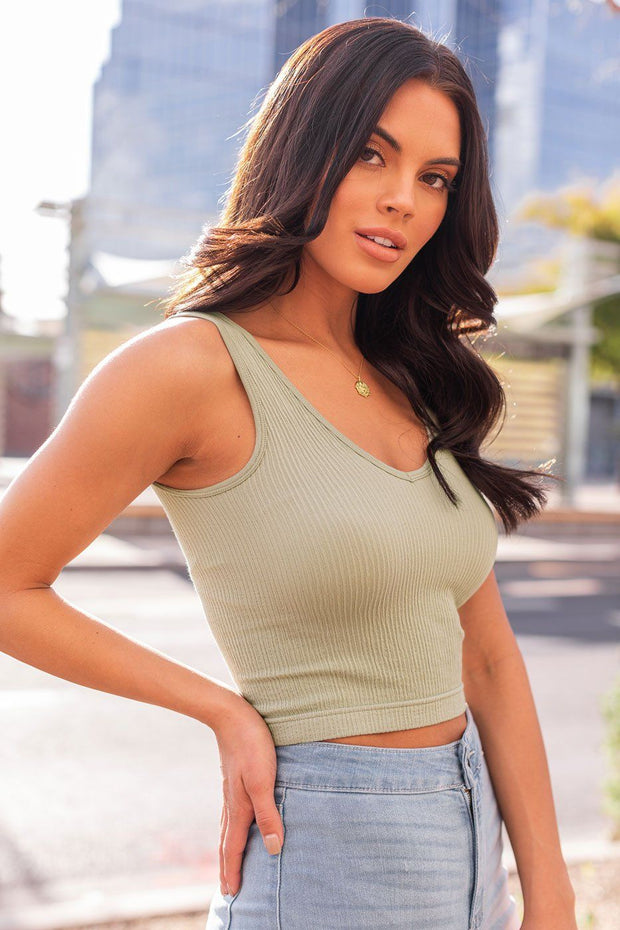 Sage Ribbed Crop Tank Top