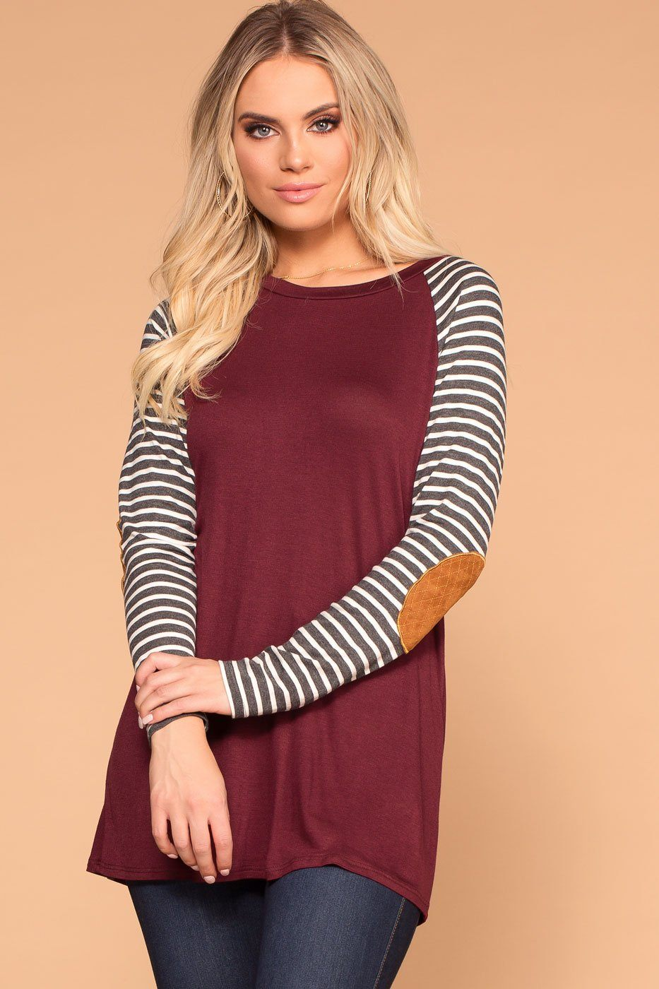 Priceless | Burgundy | Stripe Long Sleeve Top | Elbow patch Top | Womens