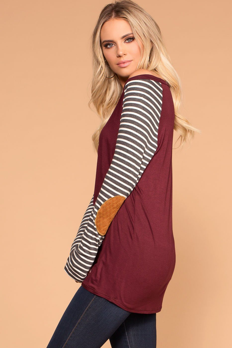 Burgundy Stripe Elbow Patch Long Sleeve Top
