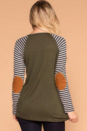 Olive Stripe Elbow Patch Long Sleeve Top