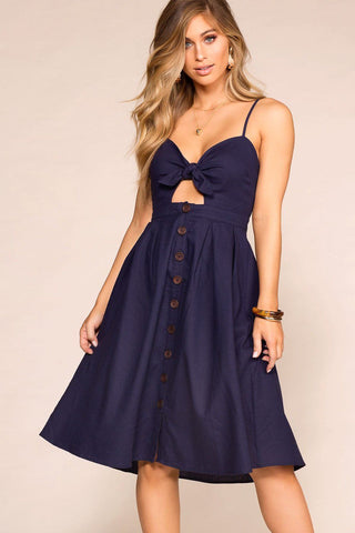 Adore Me Black Tie-Front Dress