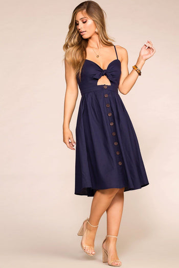 Navy Buttoned Midi Dress