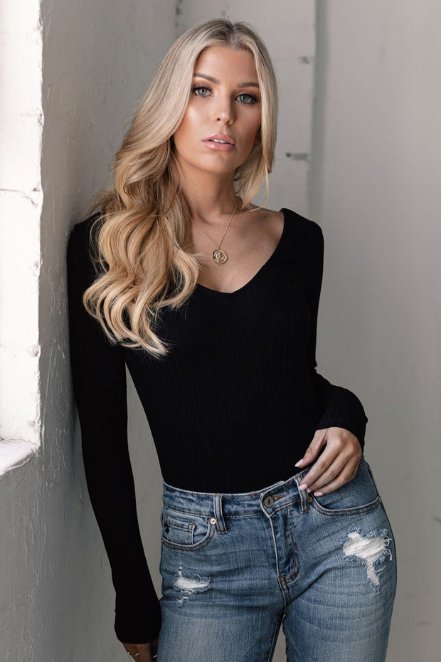 Black V-Neck Ribbed Bodysuit