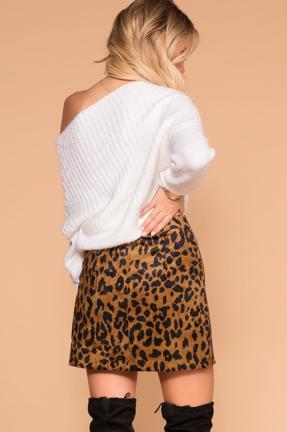 Button Up Leopard Mini Skirt