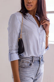 Evangeline Chambray Striped Button Down Top