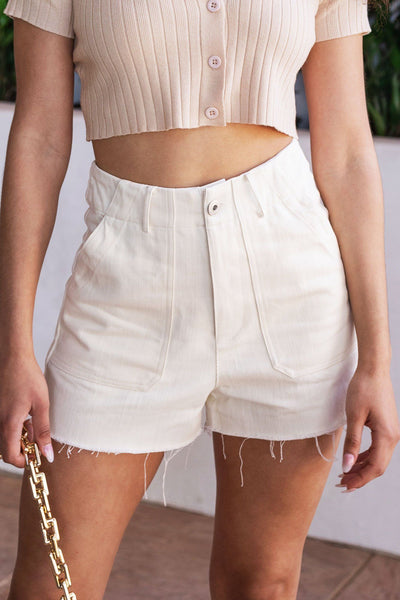 Distressed High Waisted Ivory Shorts