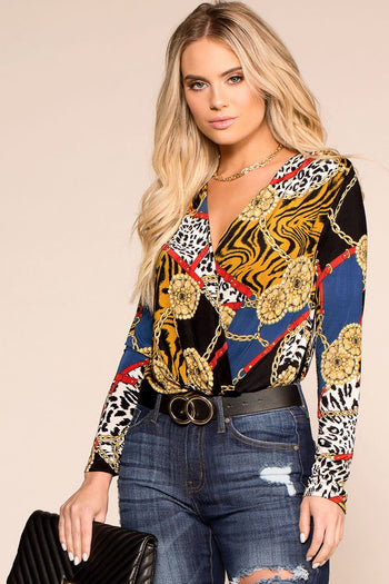 Black Patterned Blouse Bodysuit