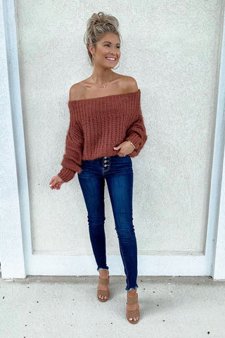 Bailey Rust Off The Shoulder Knit Sweater
