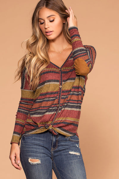 Fall Spice Rust Stripe Button Tie-Front Top