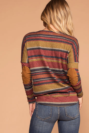 Fall Spice Rust Stripe Button Tie-Front Knit Top