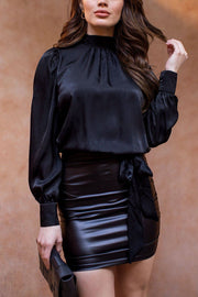 By Moonlight Black Satin Long Sleeve Top