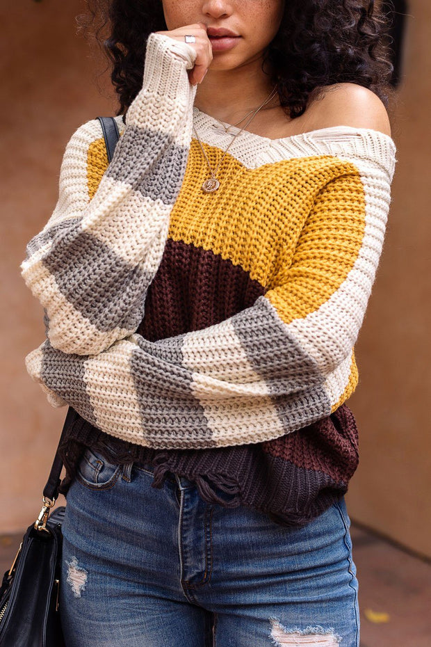Colorblock Distressed Knit Sweater
