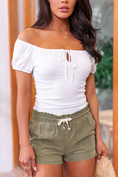 Far Flung White Off The Shoulder Boho Top