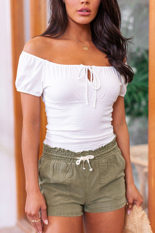 Belle Beige Highwaisted Linen Paperbag Pants