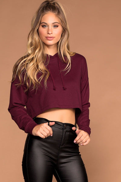 Burgundy Crop Sweatshirt Hoodie Top