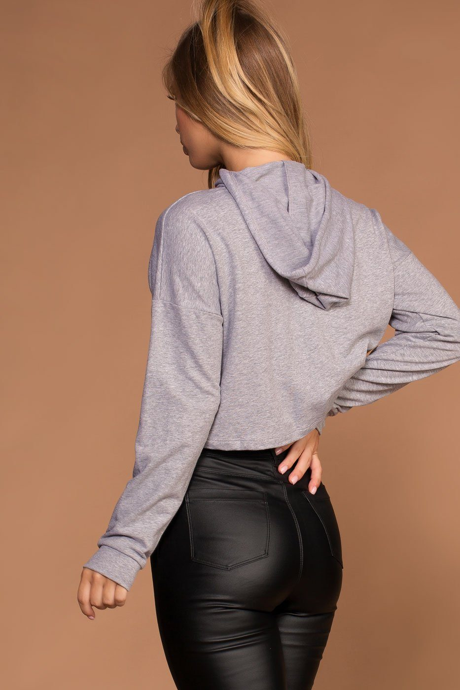 Fast Track Grey Crop Sweatshirt Hoodie Top