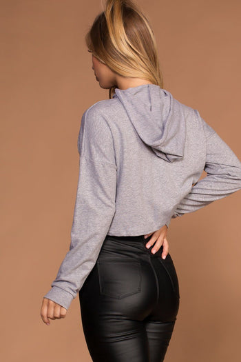 Grey Crop Sweatshirt Hoodie Top