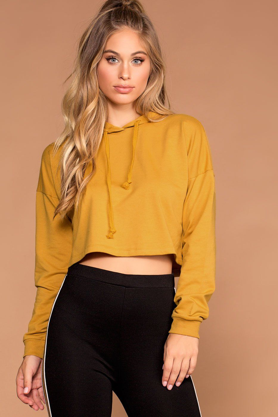 6ac60fed784a48 Fast Track Mustard Crop Sweatshirt Hoodie Top | Ambiance
