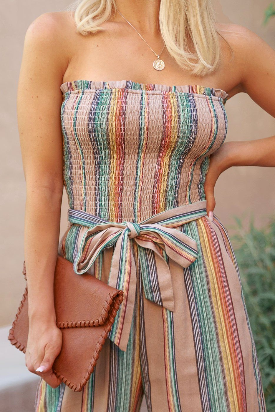 Neutral Striped Jumpsuit