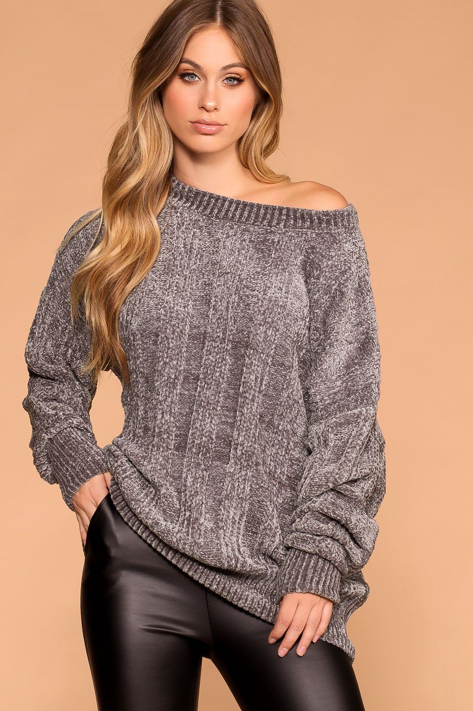 55dacc9095908c Fawna Silver Chenille Knit Sweater
