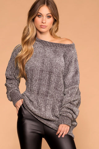 Moving On Pink Knit Distressed Sweater