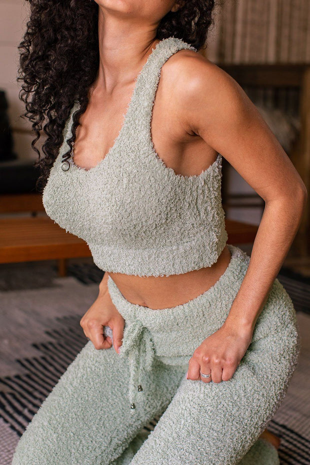 Sage Fuzzy Crop Tank Top