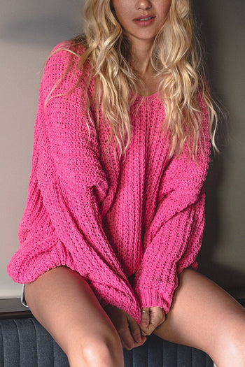 Pink Oversize Chenille Knit Sweater