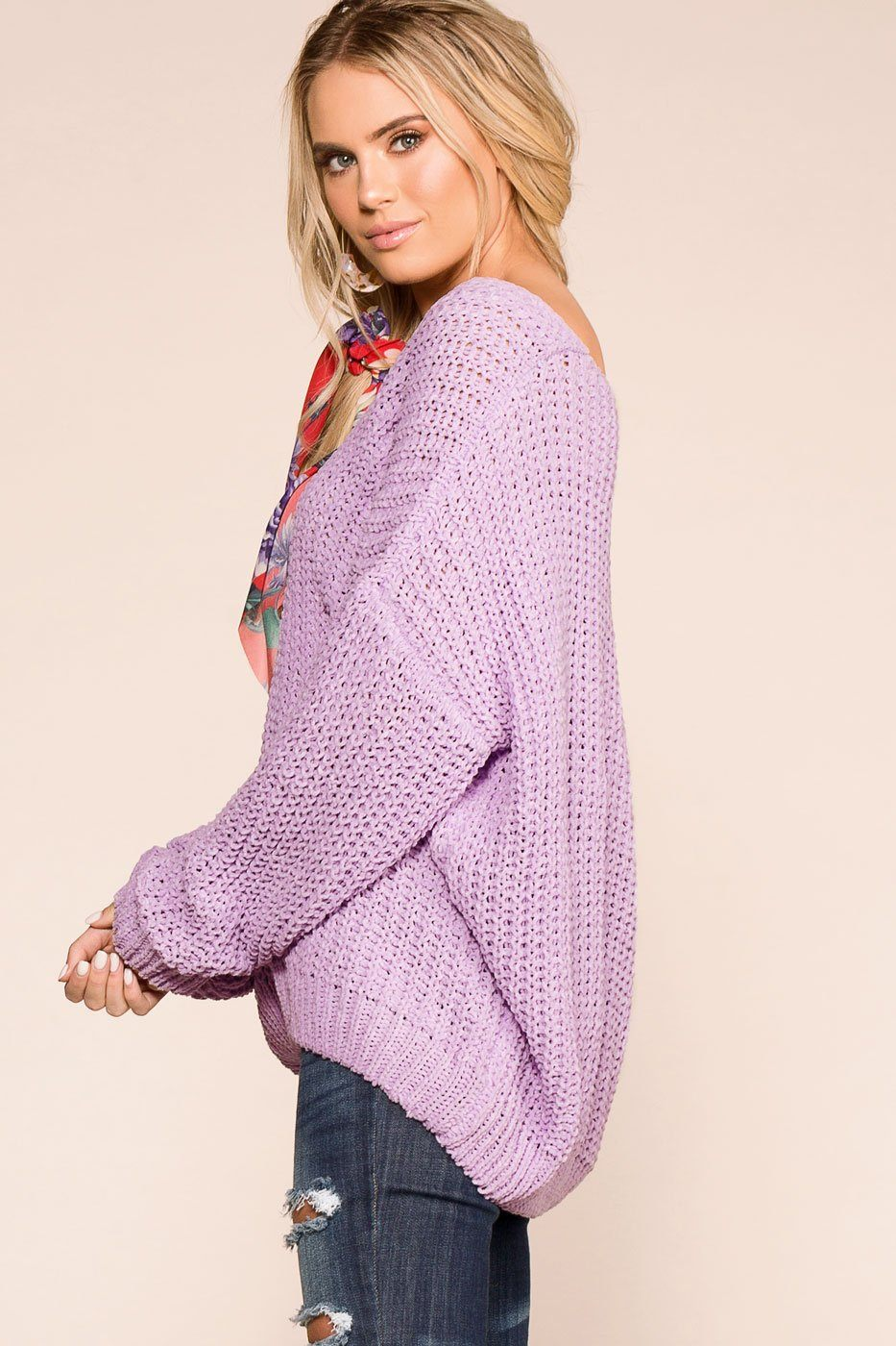 Feeling Good Lavender Oversize Knit Sweater | Miracle Sweater