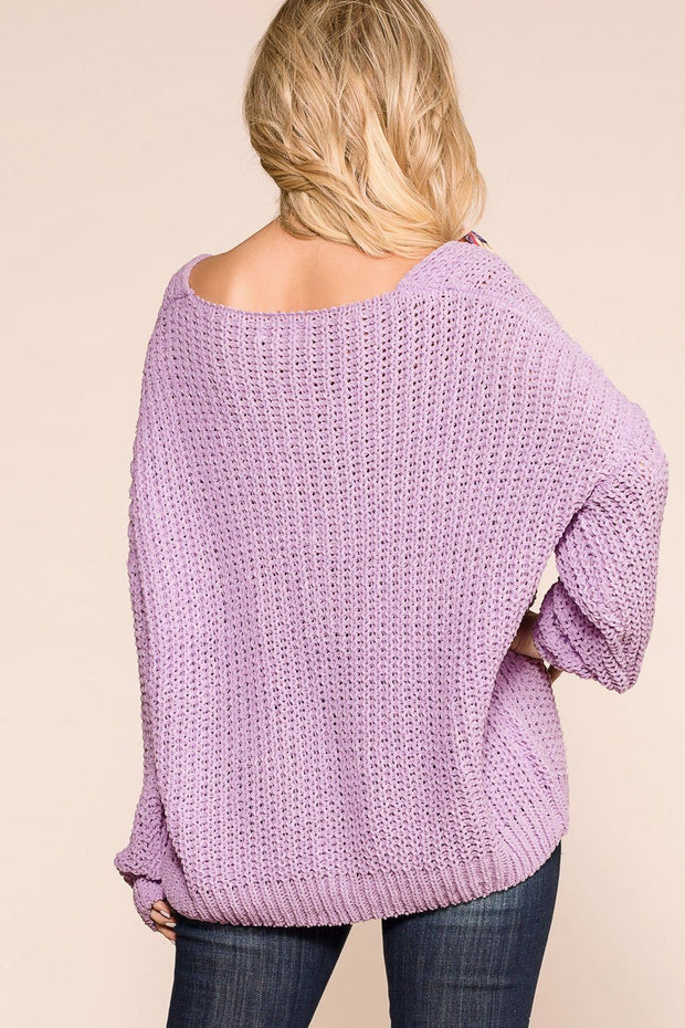 Lavender Oversized Knit Sweater