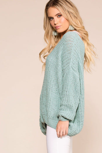 Priceless | Sage | Oversize Knit Sweater | Womens