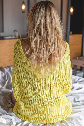 Yellow Oversize Chenille Knit Sweater