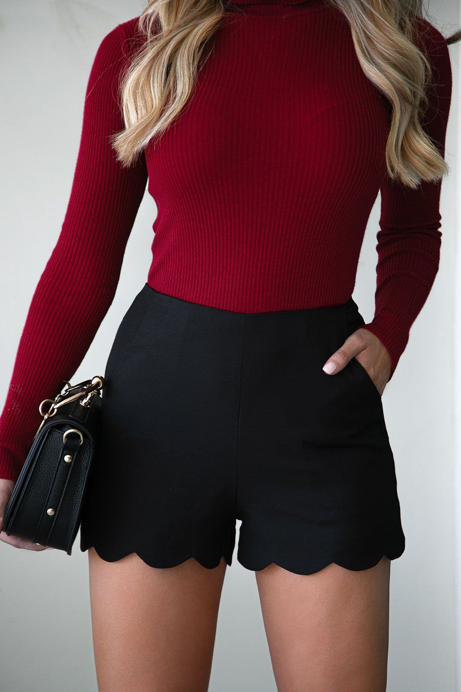 Black High Waisted Scalloped Shorts
