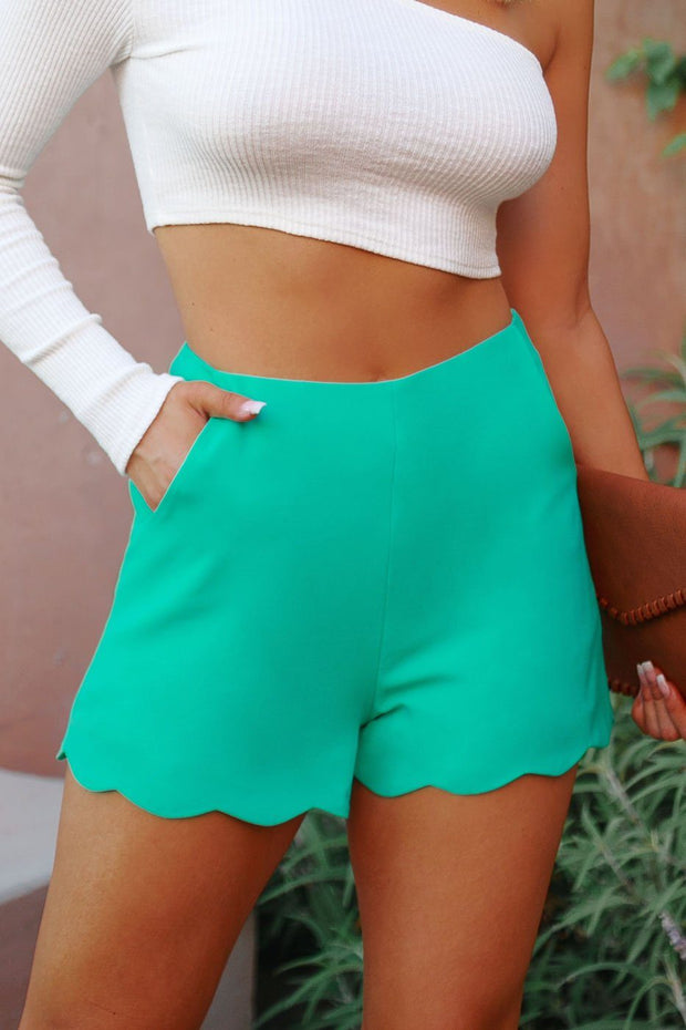 Teal Scalloped High Waisted Shorts