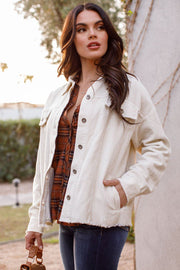 White Distressed Corduroy Jacket