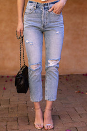 Fernanda Distressed Denim High Waisted Jeans