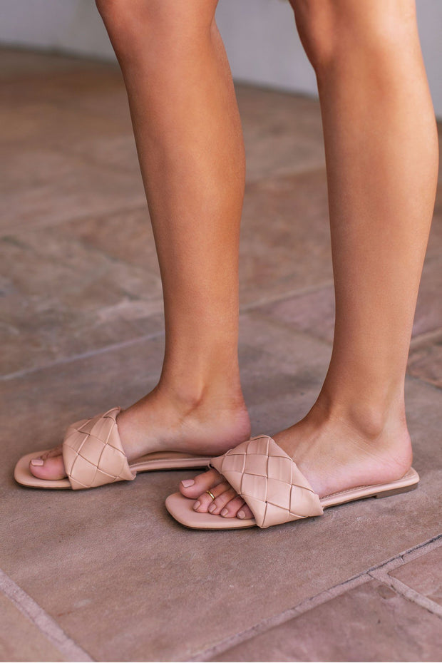 Beige Slide-On Sandals