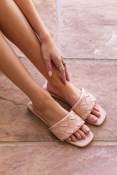 Fiesta Beige Slide-On Sandals