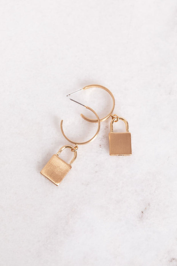 Find The Key Gold Lock Earrings