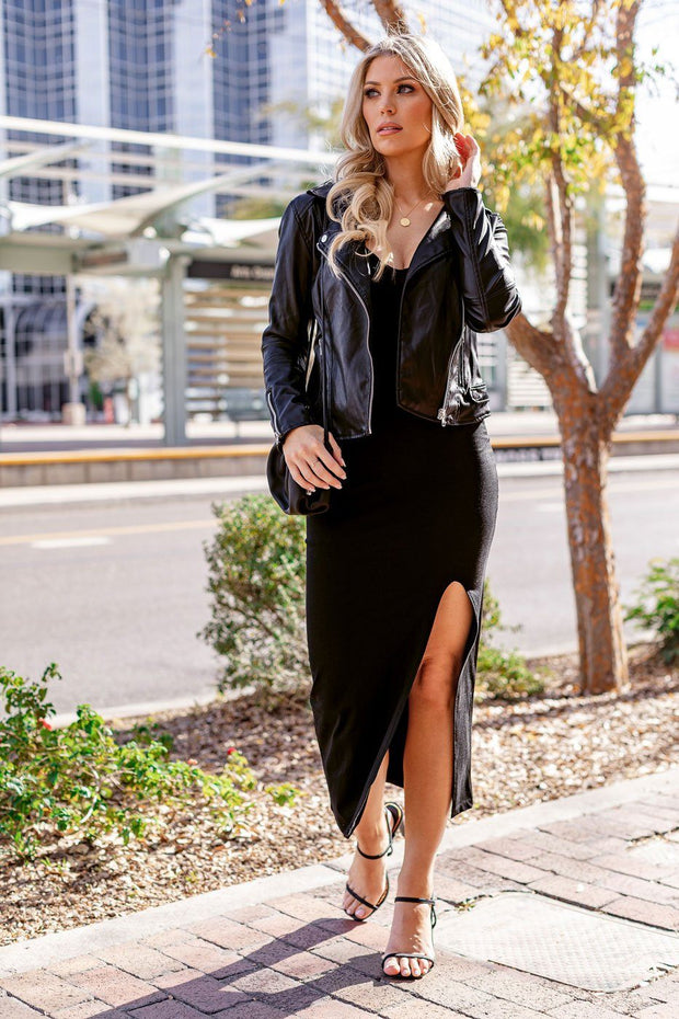 Finesse Black Slit Maxi Dress