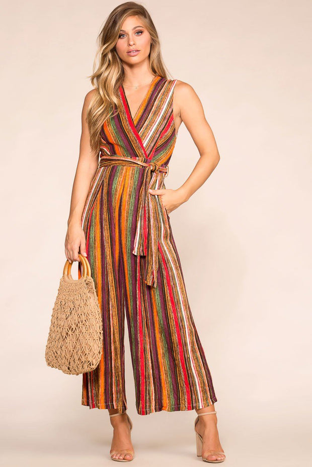 Rust Striped Jumpsuit