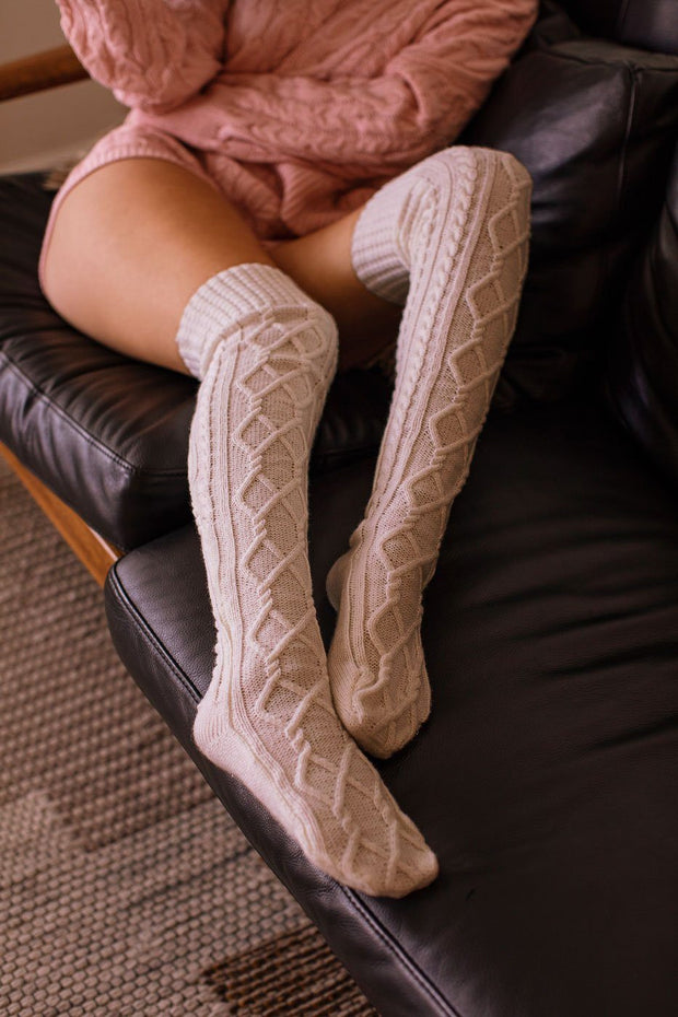 Fireside Beige Cable Knit Thigh High Socks