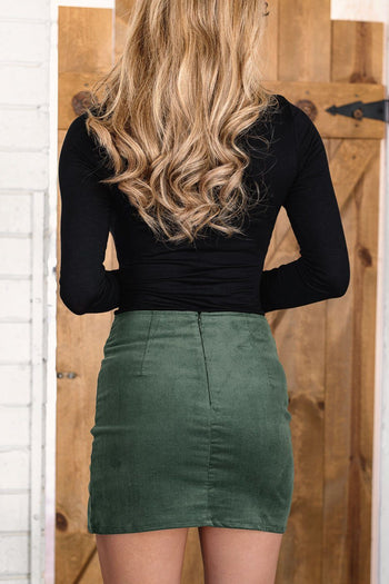 First Cut Forest Green Corduroy Skirt
