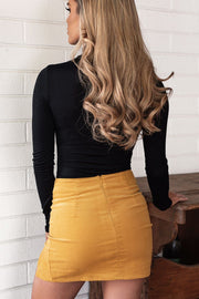 Mustard Corduroy Mini Skirt
