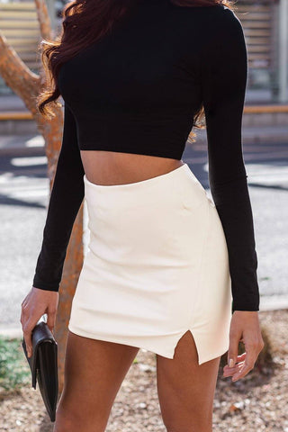 Monet White Crochet High Low Maxi Skirt
