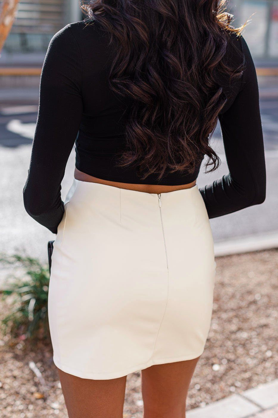 Material Girl White Vegan Leather Mini Skirt