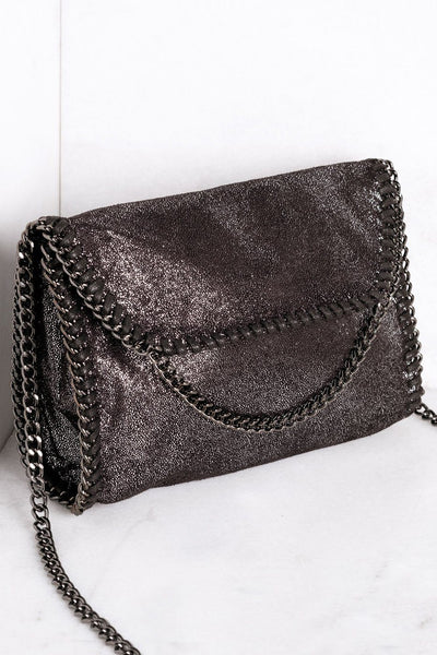 Fixed Up Charcoal Chain Shoulder Purse