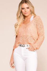 Peach Twist Back Knit Sweater