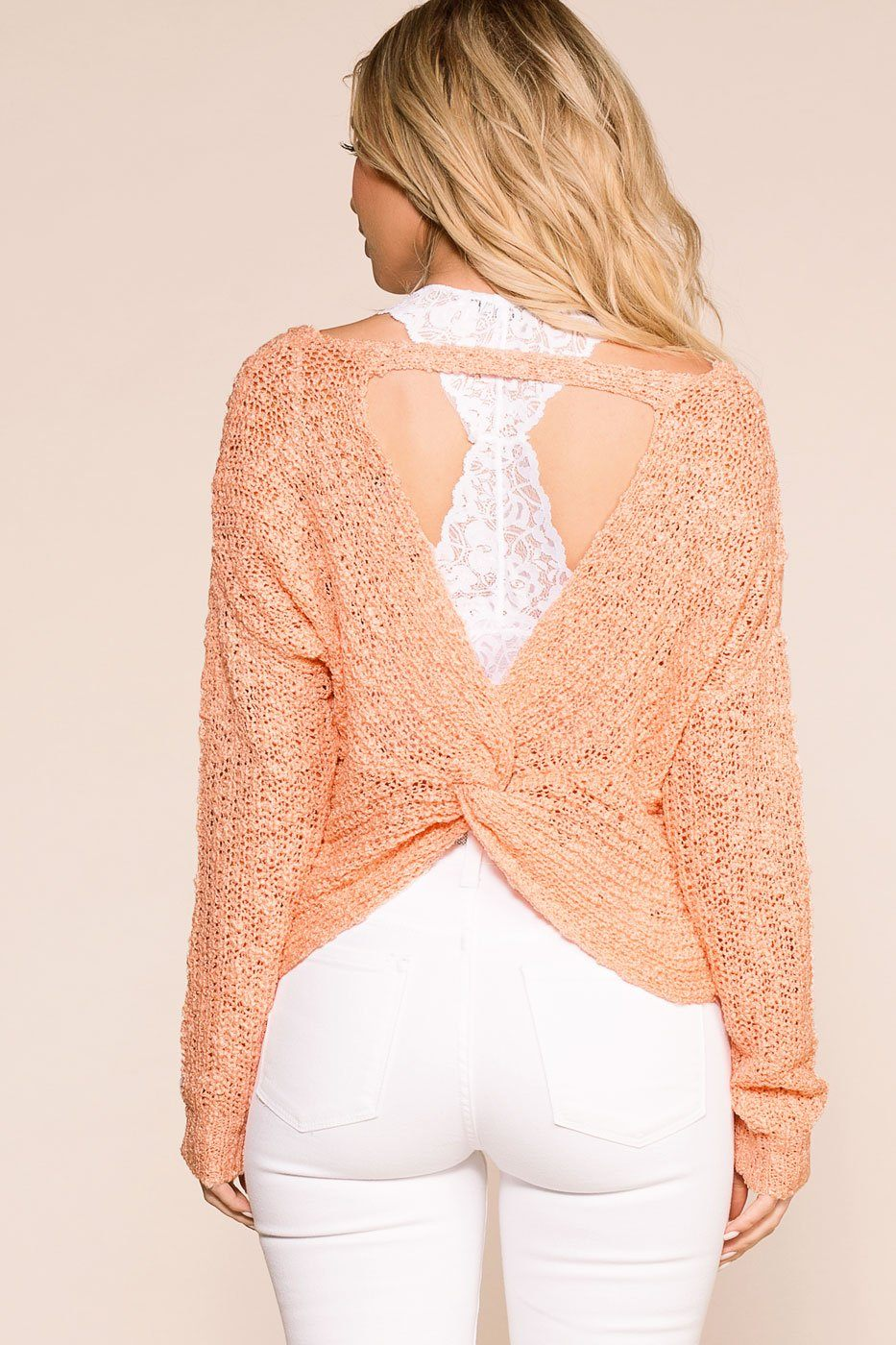 Flashback Peach Twist Back Knit Sweater | Trend Notes