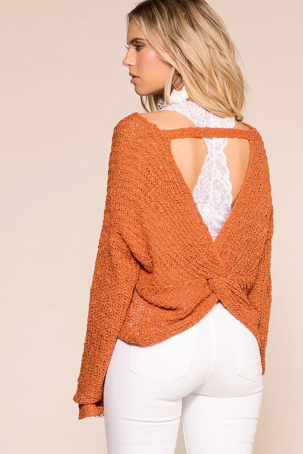 Rust Twist Back Knit Sweater